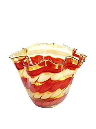 Jozefina Art Glass Amore Bowl, Amber/Red/Cream