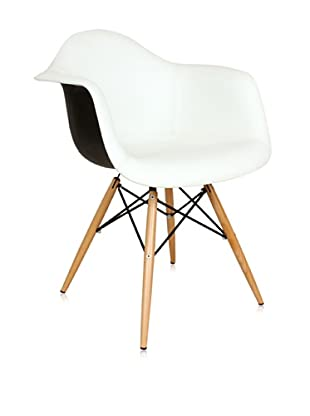 Control Brand Mid-Century-Inspired Arm Chair with Vinyl-Covered Seat, White/Black