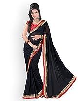 Janasya Chiffon Saree(JNE0129_Colour-Black)