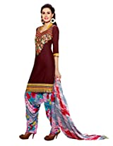 Inddus Women Maroon Embroidered Cotton Blend Dress Material