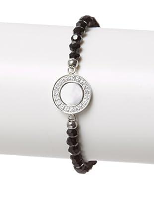 Chloe Collection By Liv Oliver Steel Mother of Pearl & Swarovski Crystal Stretch Bracelet
