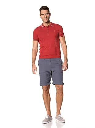 FARAH Men's Textured Pan Short Sleeve Polo (Red Chili)