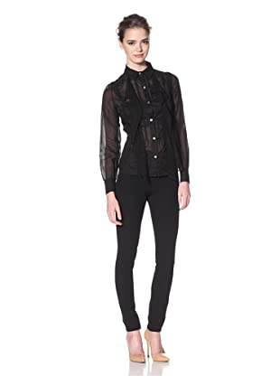 Nina Ricci Women's Button-Up Shirt with Lace Trim (Black)