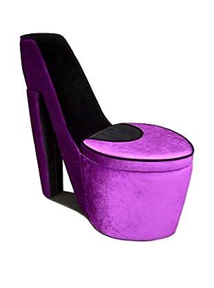 ORE International High Heel Storage Chair, Purple/Black