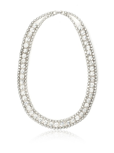 Lulu Frost 1920's Art Deco Crystal Necklace, Silver