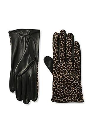 Portolano Women's Silk-Lined Leather Glove with Haircalf Top (Black/Mini Leopard)