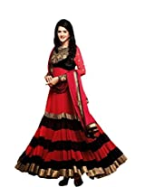 Suchi Women Georgette Anarkali (Sftkl11126 _Red & Black _Large)