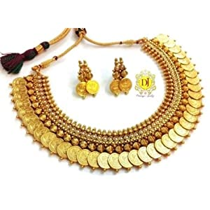Necklace sets - Temple jewellery coin necklace set.....pearl studded