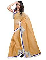 7 Colors Lifestyle Beige Coloured Super Net Embroidered Saree