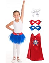 Little Adventures Girl American Hero Cape, Tutu, Mask Costume Age 3-8 with Hairbow