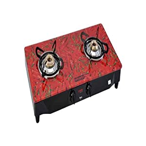 Advanta Black Diamond Chilly 2 Burner Glass Cooktop - Red & Black