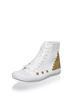Be&D Women's Studded Sneaker (White/Gold)