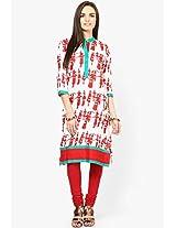 Red Cotton Printed Kurta