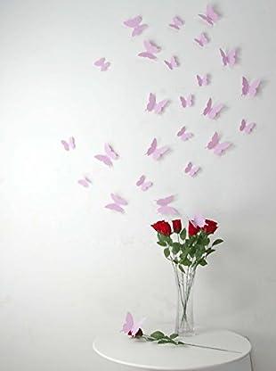 Ambiance Live Wandtattoo 12 tlg. Set 3D Butterflies rosa