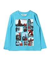 Beebay Boys New York Printed T-Shirt (B0815200402018_Turq_12Y)