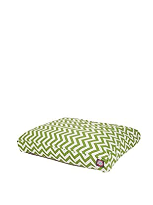 Chevron Small Rectangle Pet Bed, Sage
