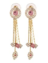 Khubsurat Designer Pink & White Color Stone Stud Fashion Earring, Long Drop of Overlapping Strings