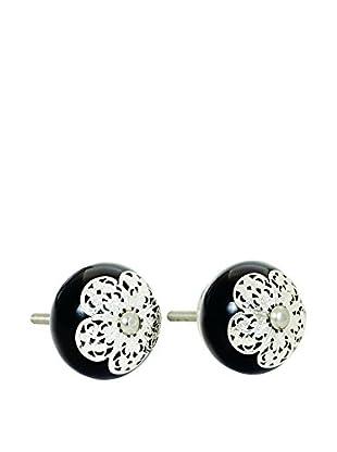 Torre & Tagus Decorative Metal Flower On Black Ceramic Knobs