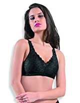 DAZZLE 62048 Women's Non wired Non padded Bra (Brilliant Black_40D)