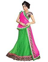 Suchi Womens Net Lace Lehenga Dress Material (Sfeep90135 _Green & Pink _Free Size)