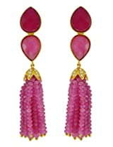 Aastha Jain Pink Beads Sterling Silver (18k gold polish) Earring For Women