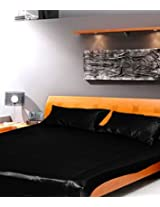 Dreams Satin Bedsheet - Double, Black
