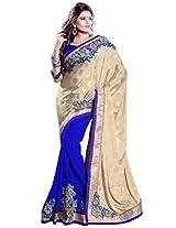 Sourbh Women Chiffon Patch Work Saree (5705 _Beige,Blue _Free Size)