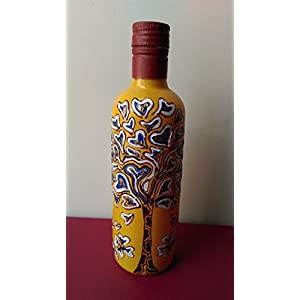 Artiliciously Your'S Tree White Painting On Recycled Glass Bottle