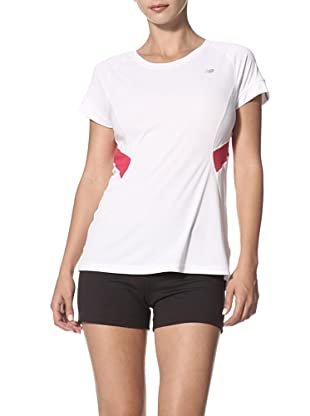 New Balance Women's Icefil Short Sleeve Tee (White Top with Virtual Pink)