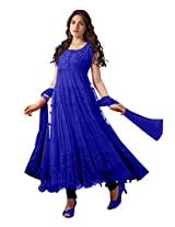 Clickedia Blue Women Brasso and Net Beautiful long anarkali suit (B0001-Blue)