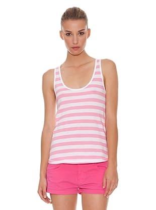 Hakei Camiseta Tirante Rayas Flúor (Rosa / Blanco)