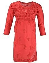 PR Chikans Women's Cotton Kurti (Red, X-Large)