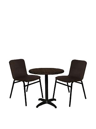Outdoor Pacific Round Wicker Pedestal Table Dining Set, Dark Coffee