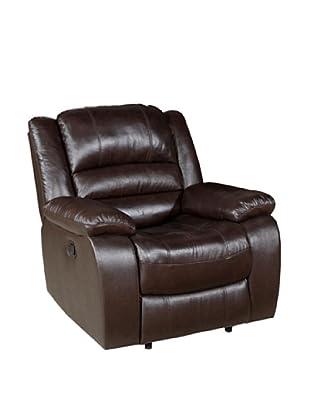 Abbyson Living Levari Reclining Leather Armchair, Dark Truffle