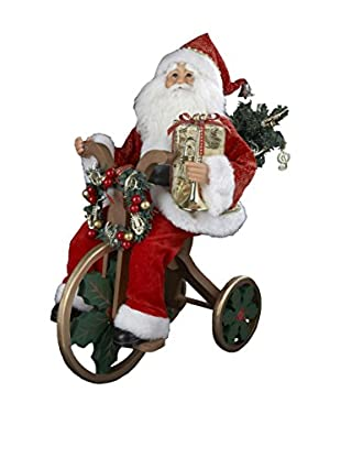 Kurt Adler Red and Gold Santa on Tricycle