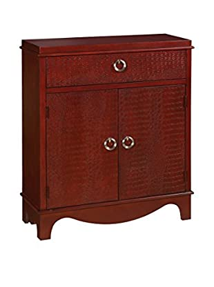 Coast to Coast Solid Embossed 1-Drawer & 2-Door Cabinet, Red