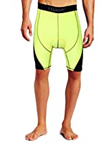 Lycot 5T Active Compression Padded Cycling Shorts Base Layer Running Tights for Mens & Women Yellow/Black 4XL