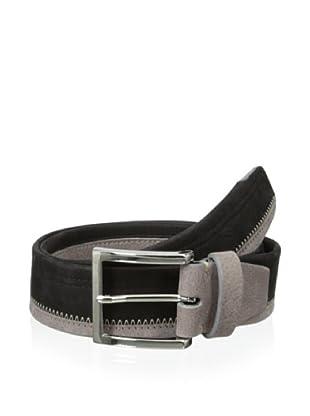 Bolliver Men's Color Block Belt (Black/Taupe)