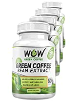 Wow Green Coffee Weight Management Supplement with 800 mg GCA - 60 Capsules (Pack of 4)