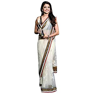 Omtex LMMSBR43 Anushka Sharma Saree - White