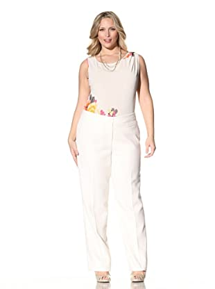 Z from Zenobia Women's Plus Straight Leg Classic Fit Pant (Ivory)