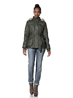Buffalo David Bitton Women's Belted Jacket with Faux Fur Trim (Forest green)