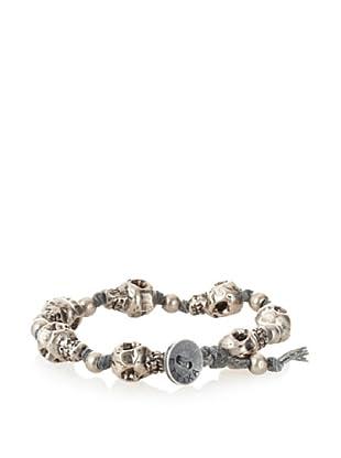 Ettika Men's Grey Skull Strand Bracelet