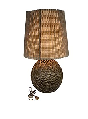Uptown Down 1970s Woven Wicker Lamp, Natural
