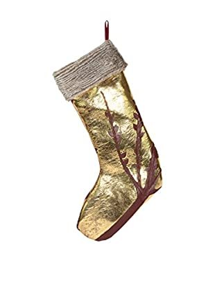 Aviva Stanoff Oxblood & Gold Stocking with Faux Fur Trim