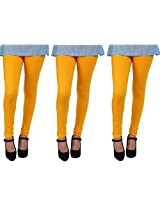 Anekaant Cotton Lycra Women's Legging Pack of 3 in Spl. Gold