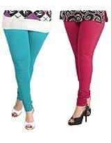 Lux Womens Churidar Cotton Leggings (Set Of 2) - L 52-33