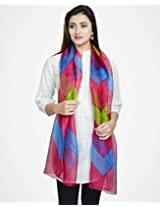 Silk Kota Printed Color Wave Stole-Green/Pink/Turquoise