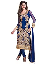 Blue Manvaa Embroidered Suit with U-Neck and Full Sleeves