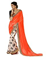 Status Orange & Off White Color Printed Saree On Bhagalpuri Silk Fabric.